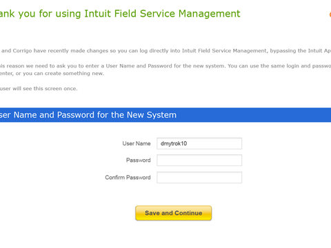 The screen users will see when first clicking on the IFSM icon in Intuit App Center